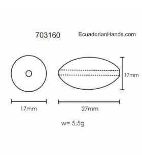 Egg 27x17mm Tagua Bugle Bead (8 unit)