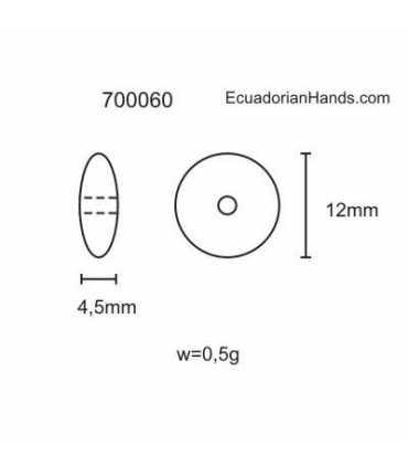 Lentejas 12mm Abalorios Tagua (200 unidades)