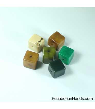 Cube 3D Tagua Bead (8 units)