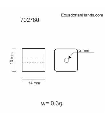 Square 3D Piece Tagua Bead (10 units)